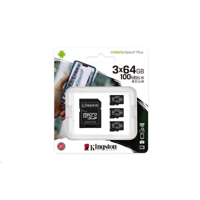 Kingston 64GB micSDXC Canvas Select Plus 100R A1 C10 - 3 ks + SD adaptér
