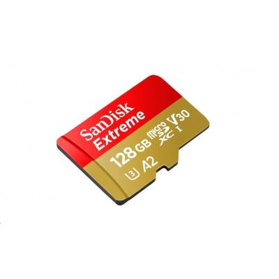 SanDisk MicroSDXC karta 128GB Extreme (R:160/W:90 MB/s, A2 C10 V30 UHS-I) + adaptér