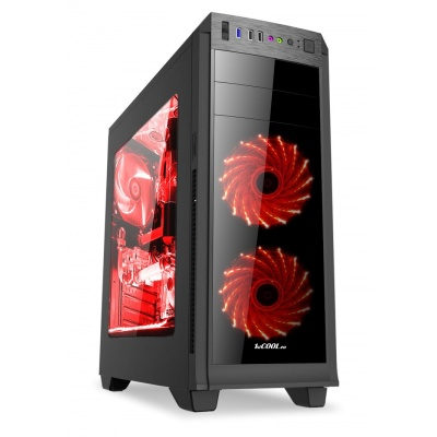 1stCOOL skříň GAMER 2, Full Tower, AU, USB 3.0, bez zdroje, Black