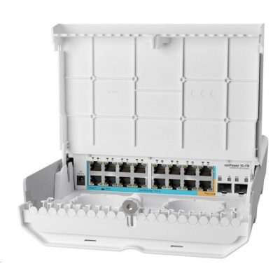 MikroTik Cloud Router Switch CRS318-1Fi-15Fr-2S-OUT, 800MHz CPU, 256MB, 16x10/100 (PoE-in,1x out),2xSFP, vč.L5, venkovní