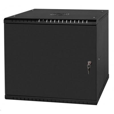 """LEXI 19"""" nástěnný rozvaděč Basic 9U, šířka 520mm, hloubka 450mm, plechové dveře, bez zad, černý"""