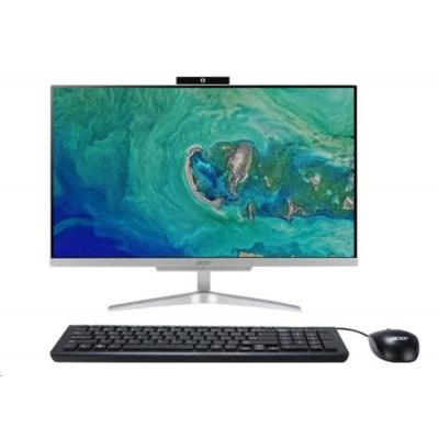 """ACER AIO Aspire C24-865 - i3-8130U@2.2GHz,IPS,23.8"""" FHD,4GB,1TBHDD54,ext.DVD,Intel HD 620,USB3.1,kl+mys,W10H,střibrný"""