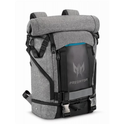 """Pošk. obal - PREDATOR GAMING ROLLTOP BACKPACK 15,6"""" GRAY BLACK with Blue Accent (RETAIL PACK),"""
