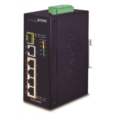 Planet IGS-614HPT, PoE switch, 5x 1000Base-T, 1x SFP, 4x PoE 802.3at, -40~+75°C, 12-56VDC, dual-power, DIN