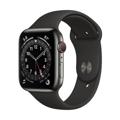 Apple Watch Series 6 GPS + Cellular, 44mm Graphite Stainless Steel Case + Black Sport Band - Regular