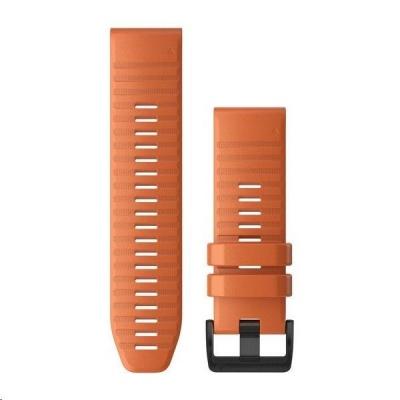 Garmin řemínek pro fenix6X - QuickFit 26, silikonový, oranžový, černá přezka