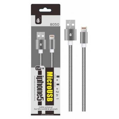 PLUS datový a nabíjecí kabel 8050 univerzální pro konektory micro USB a Lightning, kovová