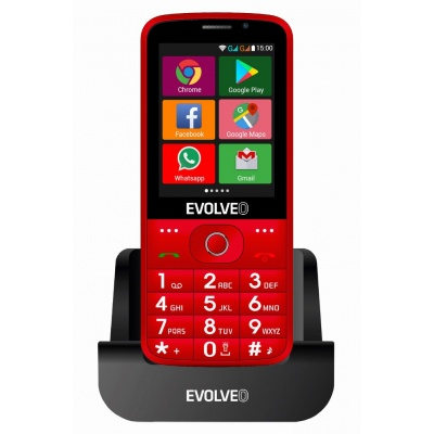 EVOLVEO EasyPhone AD, chytrý mobilní telefon pro seniory s nabíjecím stojánkem (červená barva)