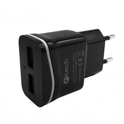 C-TECH nabíječka USB UC-03, 2x USB, 2,1A, černá
