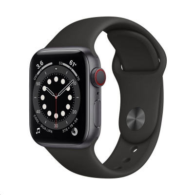Apple Watch Series 6 GPS + Cellular, 40mm Space Grey Alum. Case + Black Sport Band - Regular