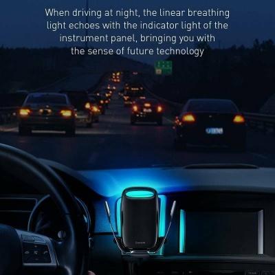 Baseus Milky Way držák do automobilu s funkcí bezdrátového nabíjení QI 15W (do ventilační mřížky), stříbrná