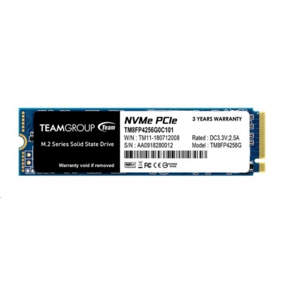 Team SSD M.2 256GB (R:2700, W:850), MP34 PCI-e Gen3.0 x4 NVMe 1.3