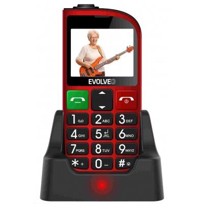 EVOLVEO EasyPhone FM, mobilní telefon pro seniory s nabíjecím stojánkem (červená barva)