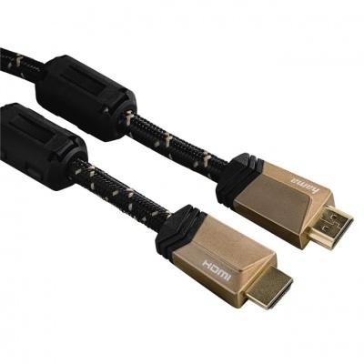 Hama Premium HDMI kábel vidlica-vidlica, 3 m, pozlátený, ferity, kovové vidlice, opletený, 5*