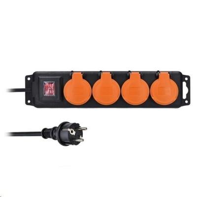 Solight prodlužovací přívod IP44, 4 zásuvky, gumový kabel, vypínač, venkovní, ,5m