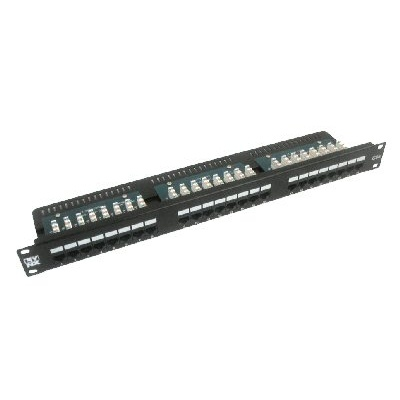 """19"""" Patch panel LYNX 24port, UTP, Cat5E, 30µm, duální svorkovnice, černý"""