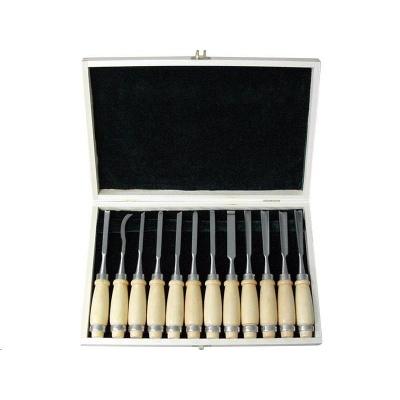 Extol Premium (8812405) dláta řezbářská, sada 12ks, délka 200mm, v dřevěné krabici, tvrzené na HRC 58-60, CrV