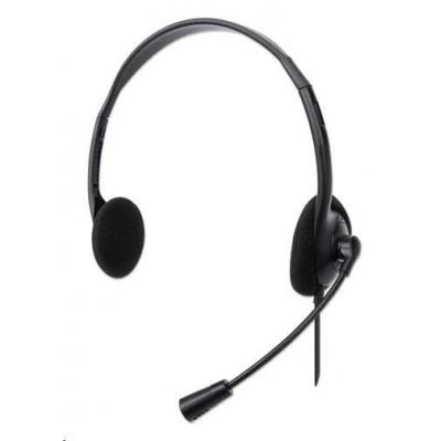 MANHATTAN Sluchátka s mikrofonem Stereo USB Headset, box