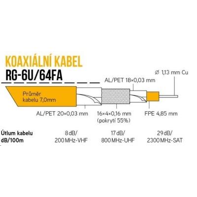 Koaxiální kabel RG-6U/64FA 7 mm, trojité stínění, impedance 75 Ohm, PE venkovní, černý, cívka 100m