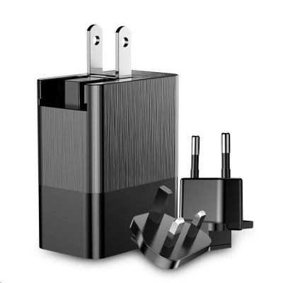 Baseus Duke univerzální cestovní adaptér (EU + UK + US), černá