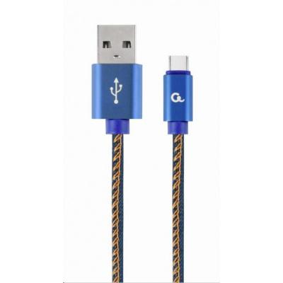 GEMBIRD Kabel CABLEXPERT USB 2.0 AM na Type-C kabel (AM/CM), 1m, opletený, jeans, blister, PREMIUM QUALITY