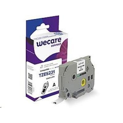 WECARE ARMOR páska pro BROTHER TZE-S231(TZES231), černá/bílá, 12mm x 8m