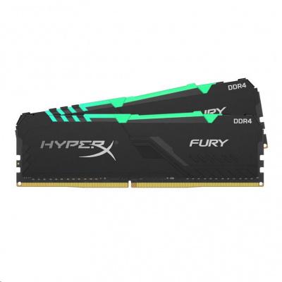 DIMM DDR4 16GB 2666MHz CL16 (Kit of 2) KINGSTON HyperX FURY Black RGB