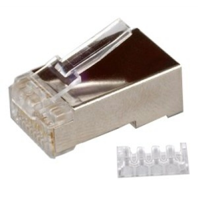 Konektor STP RJ45 (8p8c), Cat6, 50µm, skládaný, drát - 100 ks