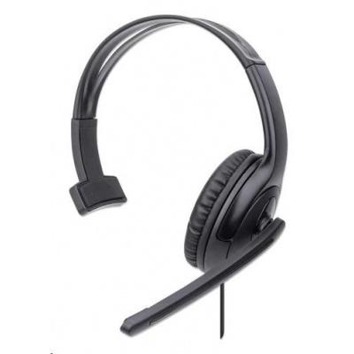 MANHATTAN Sluchátka s mikrofonem Mono USB Headset, černá