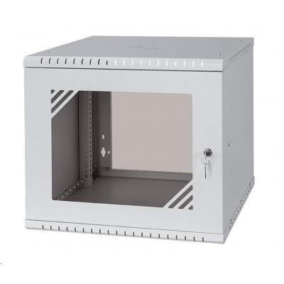 """LEXI 19"""" nástěnný rozvaděč Basic 9U, šířka 520mm, hloubka 450mm, skleněné dveře, bez zad, šedý"""