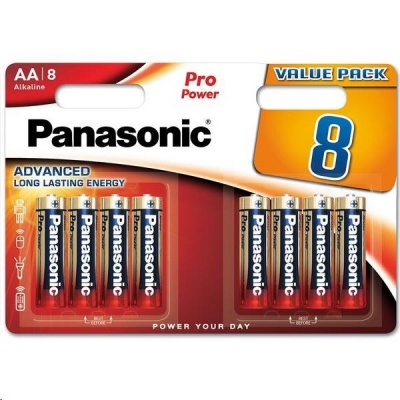 PANASONIC Alkalické baterie Pro Power LR6PPG/8BW AA 1,5V (Blistr 8ks)