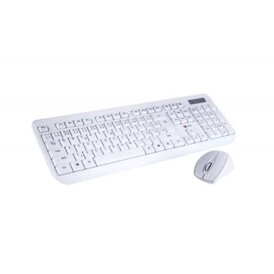 C-TECH klávesnice s myší WLKMC-01, USB, bílá, wireless, CZ+SK