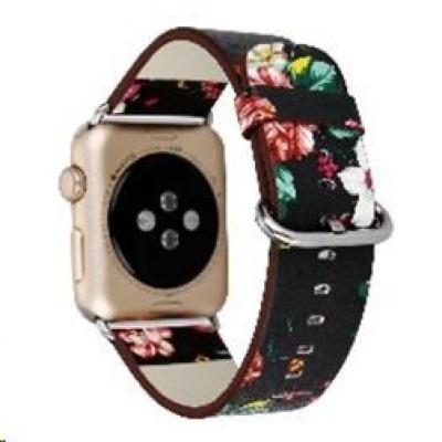 eses kožený květinový řemínek 38/40mm černý/červený pro Apple Watch