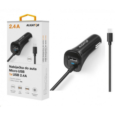 Aligator nabíječka do auta Turbo charge, 12/24 V, 2,4 A, microUSB, 1x USB výstup, černá