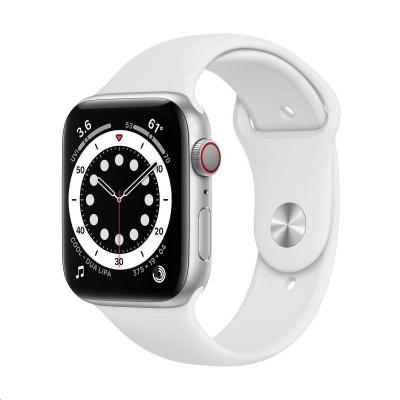 Apple Watch Series 6 GPS + Cellular, 44mm Silver Alum. Case + White Sport Band - Regular