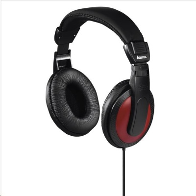 Hama sluchátka Basic4Music, uzavřená, černá/červená