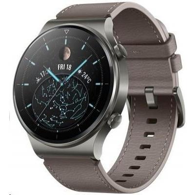 Huawei Watch GT 2 Pro, 46,7 mm, šedá / kožený řemínek, šedohnědá