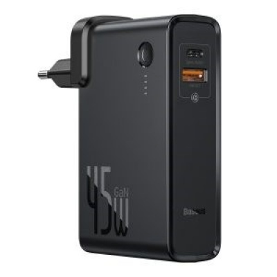 Baseus Power Station GaN 2v1 QC USB-A + USB-C a powerbank 10000mAh 45W a kabel USB-C/USB-C 60W 1m, černá