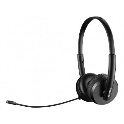 Sandberg náhlavní souprava Office SAVER s mikrofonem, USB, stereo, černá