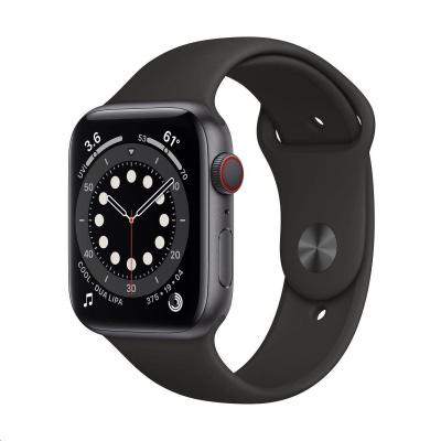 Apple Watch Series 6 GPS + Cellular, 44mm Space Grey Alum. Case + Black Sport Band - Regular