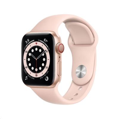 Apple Watch Series 6 GPS + Cellular, 40mm Gold Alum. Case + Pink Sand Sport Band - Regular