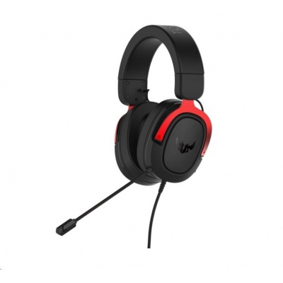 ASUS sluchátka TUF Gaming H3 Red, Gaming Headset, černo-červená