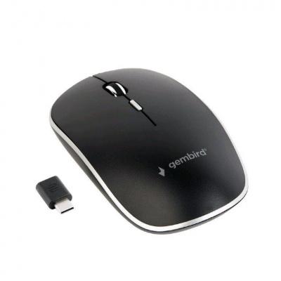 GEMBIRD myš MUSW-4BSC-01, bezdrátová, USB Type-C receiver, černá
