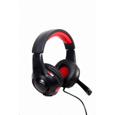 GEMBIRD sluchátka s mikrofonem GHS-U-5.1-01, gaming, 5.1 surround, černo-červená, USB