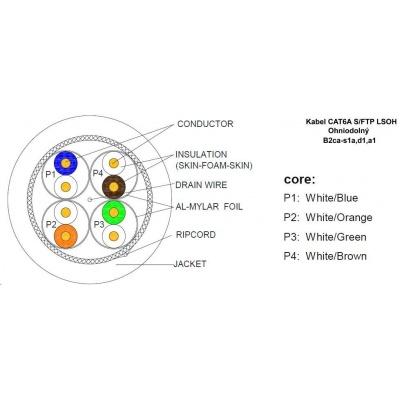 S/FTP kabel LEXI-Net, Cat6A, LS0H, B2ca-s1a, d1, a1, oranžový, 500m, cívka
