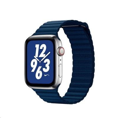 COTEetCI kožený magnetický řemínek Loop Band pro Apple Watch 38 / 40mm tmavě modrý