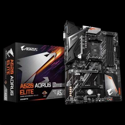 GIGABYTE MB Sc AM4 A520 AORUS ELITE, AMD A520, 4xDDR4, HDMI, DVI