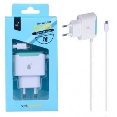 PLUS síťová nabíječka CS103, konektor micro USB, 1 A, bílá