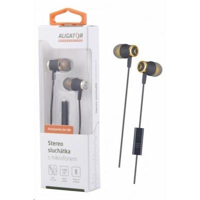 Aligator stereo sluchátka AE02 s mikrofonem, 3,5 mm jack, zlatá