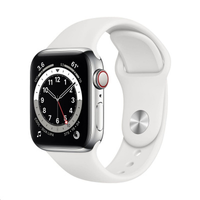 Apple Watch Series 6 GPS + Cellular, 40mm Silver Stainless Steel Case + White Sport Band - Regular